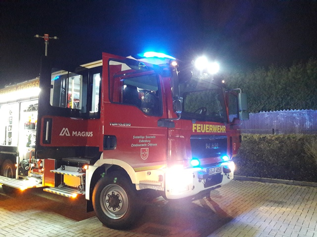 Brennender Strommast in Ostharingen